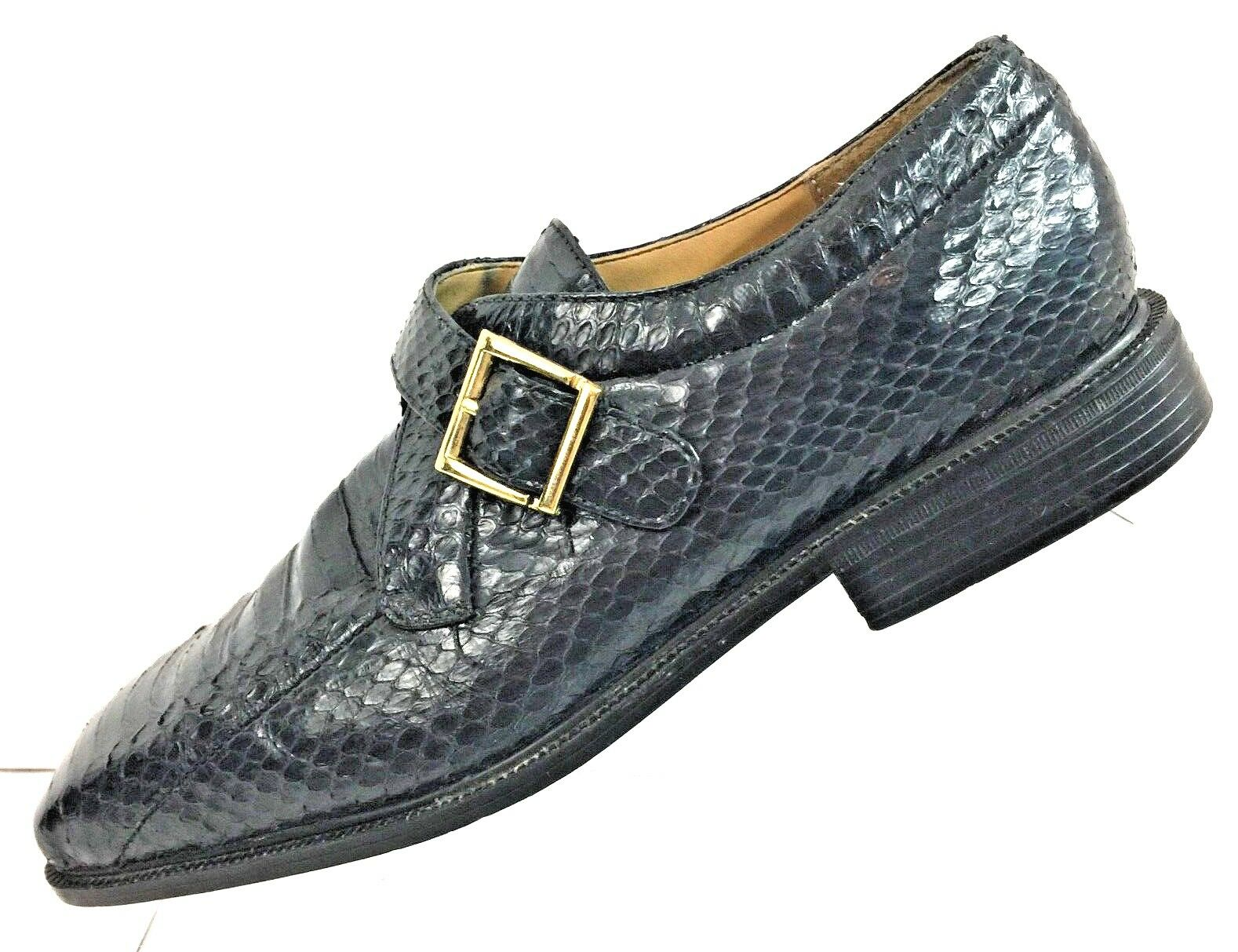 Giorgio Brutini Men's Genuine Snake Skin Loafers Navy bluee shoes Size 8.5M