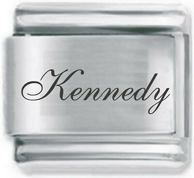 Italian Charm 9mm laser Script Font Name Word Kennedy