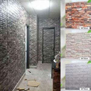 10pcs 3D Tile Brick Stone Wall Sticker Foam Panel Self Adhesive Waterproof Decor