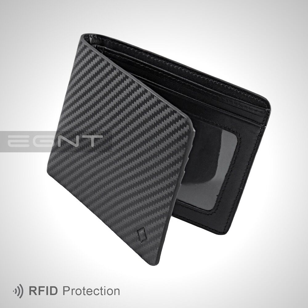 Egnt Id Carbon Wallet Rfid Black Bifold Genuine Leather