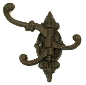 Cast Iron WALL MOUNT MULTI HOOK COAT RACK ~ 5 Swivel Arms ~ 15 Usable Hooks