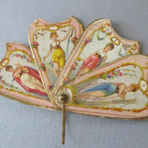 """Antique 19thC French Cardboard 2"""" 4-Part FAN Shaped NEEDLE CASE Lithos of LADIES"""