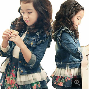 Kids Girls Denim Jacket Ruffle Lace Jean Coats Cowboy Casual Outwear
