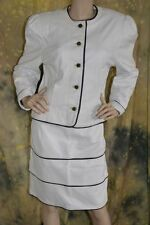 vtg 80s FABULOUS white HOT LEATHER black piping STRIPE skirt JACKET M POWER SUIT