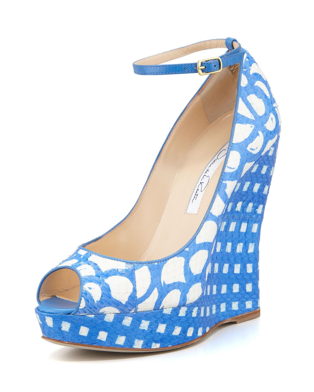 NEW Oscar de la Renta ALALY Wedge EXOTIC SNAKE Sandals Ocean White bluee shoes 41