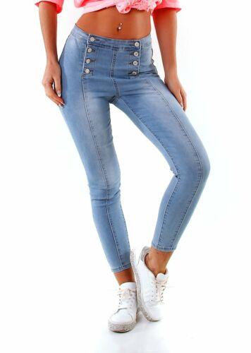 4487 Extravagante Damen Jeans Stretch Denim Slimfit Duo-Knopfleiste High-Waist