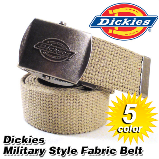 11DI0302 One Size Fits All to Size 42 Dickies Cotton Web Belt w//Military Buckle