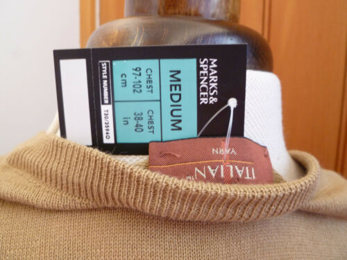 Marks and spencers marron camel Merino mix col V Pull Léger Moyen M nouveau