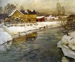 Oil-painting-Frits-Thaulow-cottage-by-a-canal-in-the-snow-landscape-on-canvas