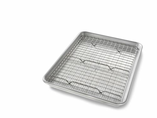 Quarter Sheet Baking Pan and Bakeable Nonstick Cooling Rack Metal