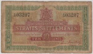 Mazuma *M1237 Straits Settlements 1919 10 Cents A/55 03207 F Only