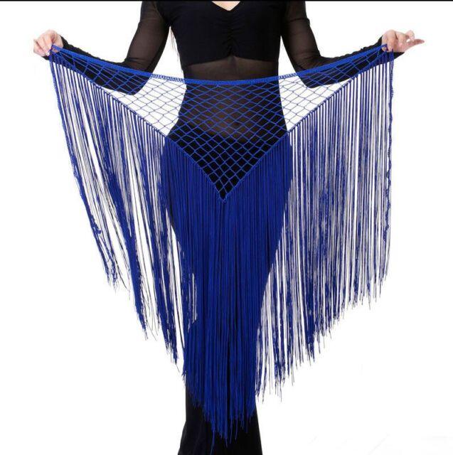 Best Belly Dance Costume Tribal Tassel hip scarf wrap belt Skirt Black Crazy Hot