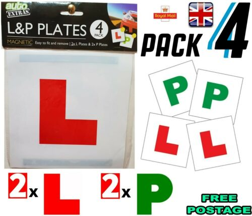 L /& P PLATES MAGNETIC FULLY SECURE GREEN NEW DRIVER P PLATES JUST PASSED CAR