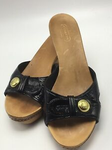 NEW Coach Caterine Patent Leather Sandals Logo Ankle Strap Flops SELECT MSRP $98