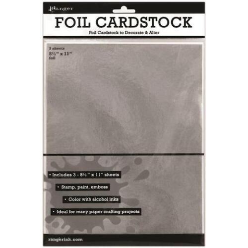 "Ranger Inkssentials Foil Cardstock 3pcs Silver 8.5/""x11/"""