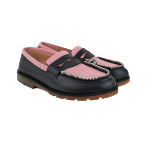 Ketevane-Maissaias-Navy-Blue-Pink-Grained-Leather-Zipped-Moccasins-IT37-UK7