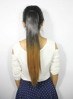 55 - 60 cm Ombre Dip Dye Festival Straight Claw Clip In Ponytail Hair Extensions