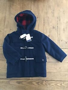NWT Baby GAP Navy Blue Parka Coat Jacket Size 3T Quilted Plaid ...