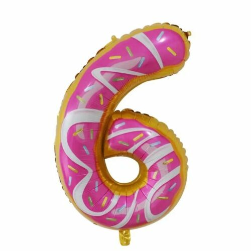 """30/"""" DONUT Number Foil Balloons Helium 0-9 BIRTHDAY PARTY AGE Balloon Doughnut"""