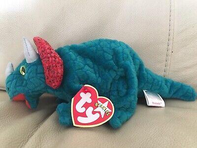 Dino Dinosaur Ty Beanie Baby Hornsly MWMT Triceratops 2000
