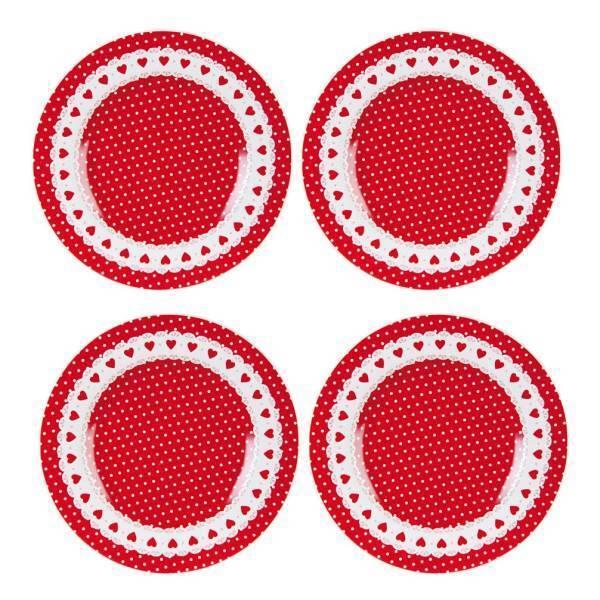 4er Set Piccolo piatto Torta Piatto punti + CUORE D. 21cm ROSSO BIANCO Clayre & Eef