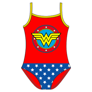 Official Licenced Wonder Woman Logo Girls Swimming Costume Swim Suit