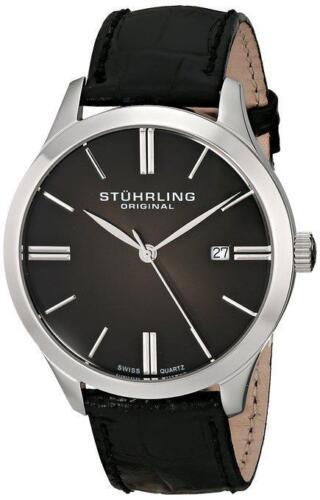 Stuhrling 490 33151 Classic Cuvette II Swiss Quartz Date Leather Mens Watch