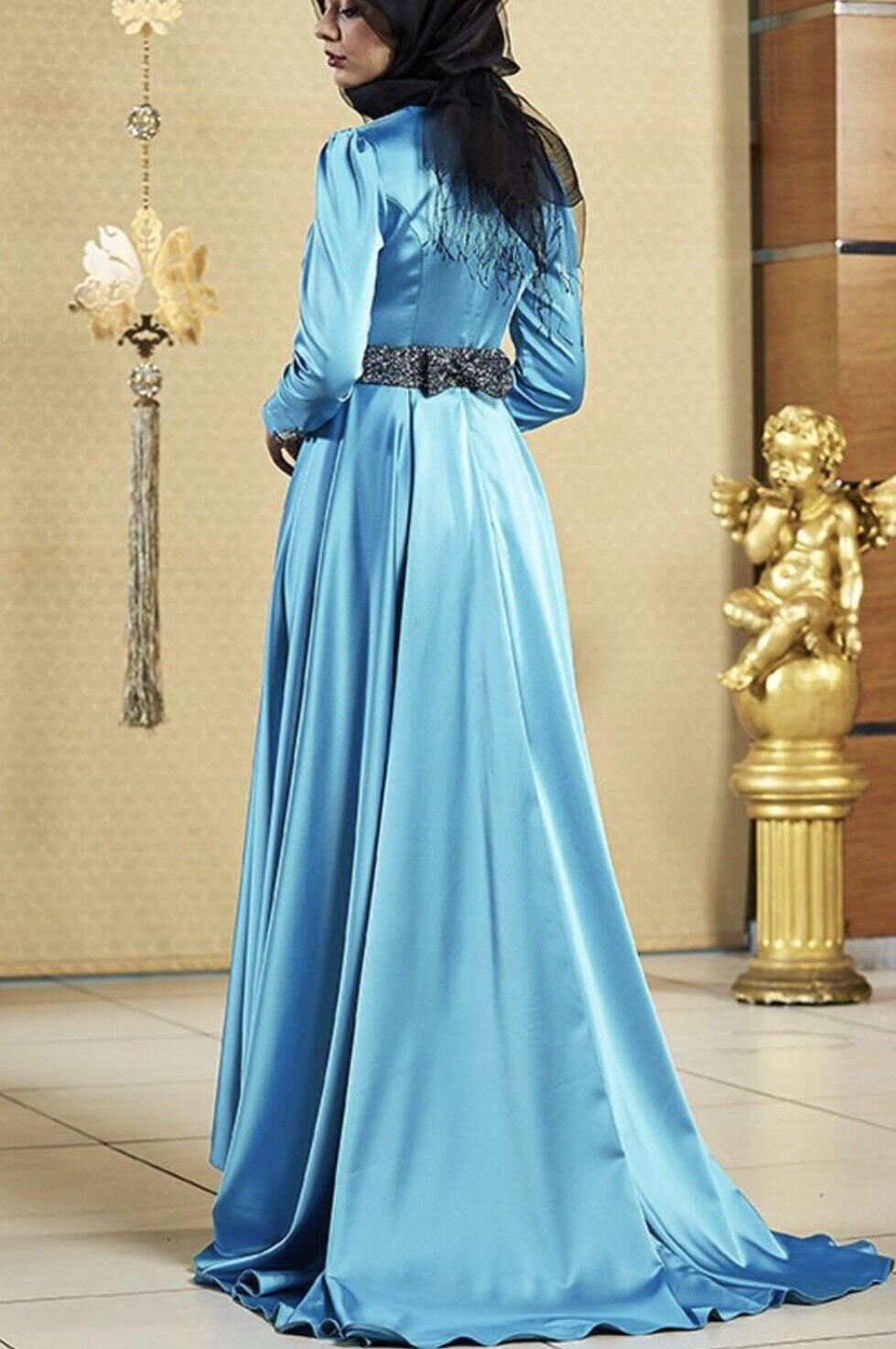 Abendkleid Satin Neu Türkis Kleid Abiye Elbise Gr. 36 - 38 Hijab Tesettür Dügün