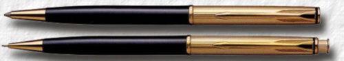 Parker Custom Insignia Black /& Gold Ballpoint Pen /& Pencil Set New In Box Usa