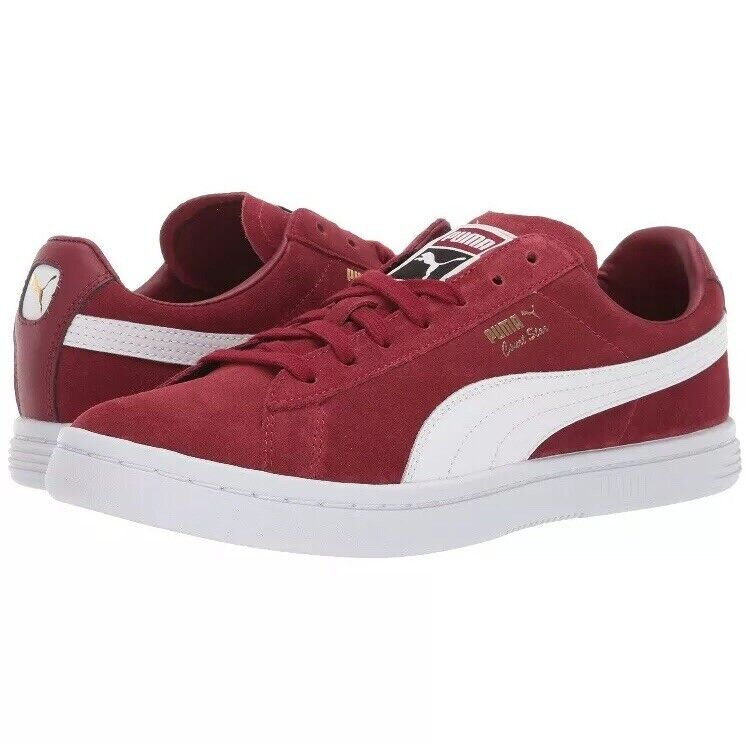 New Puma Men's Court Star Red White Suede Leather Sneakers Sz 12
