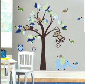 Details About Safari Animal Tree Elephant Monkey Wall Sticker Boy Nursery Decor Kid Room Decal
