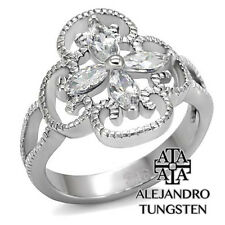 Women's Ring Wedding Marquises Cut Stainless Steel Stone Design Size 8