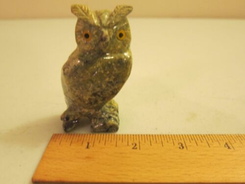 112 Gram Colorful Owl Figurine Stone Carving from Peru