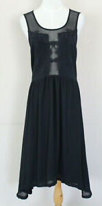 Sans-Souci-Black-Dress-Size-M-with-Sheer-Mesh-Sections-Sleeveless-Embroidered