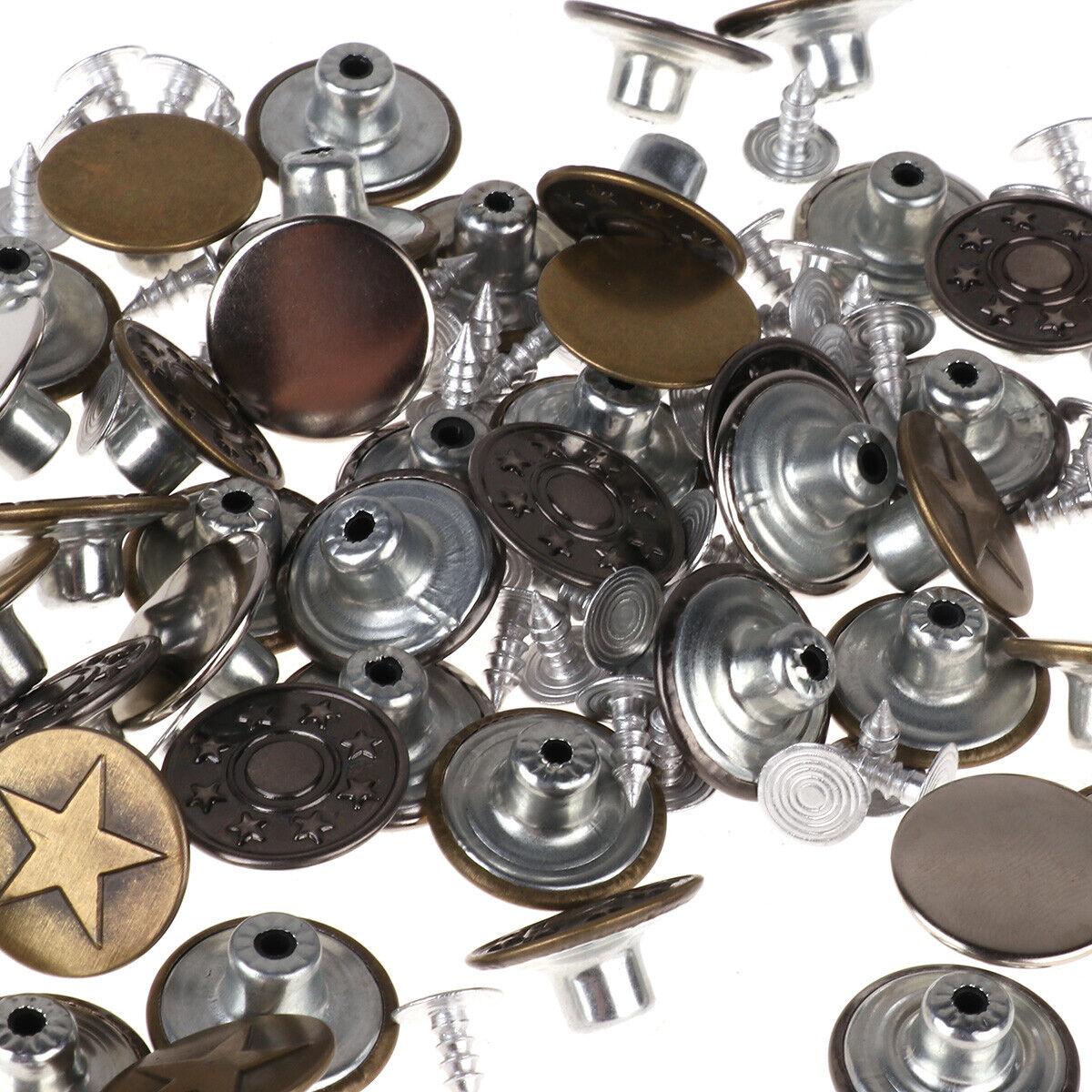 40 Juego de ropa de metal botón Instantáneo + Repuesto De Remaches Clavos Jeans Camisas De Reparación