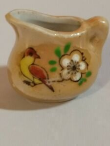 Vtg Dollhouse Miniature Orange Floral Porcelain Ceramic Pitcher /& Plate Japan