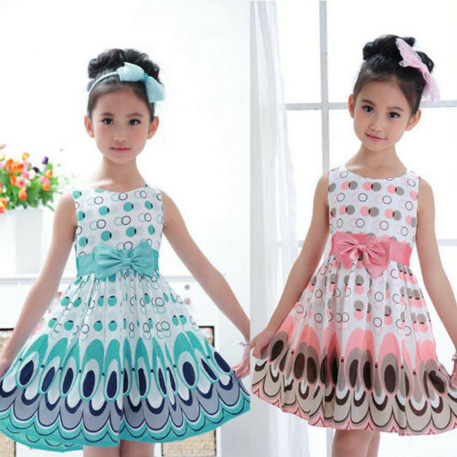 Summer Kids Girls Bow Belt Sleeveless Bubble Peacock Party Prom Dress Clothing