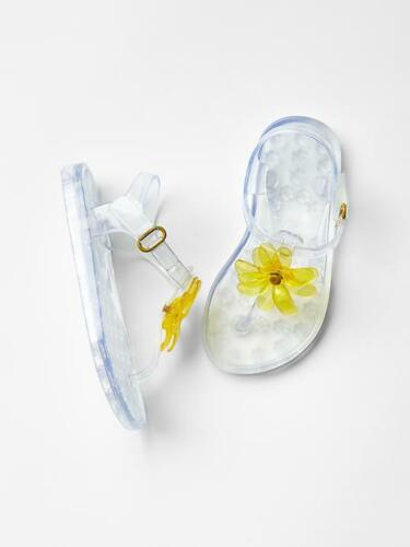 GAP Baby Toddler Girl Size US 8 Clear Flower Jelly Sandals Water Beach Shoes