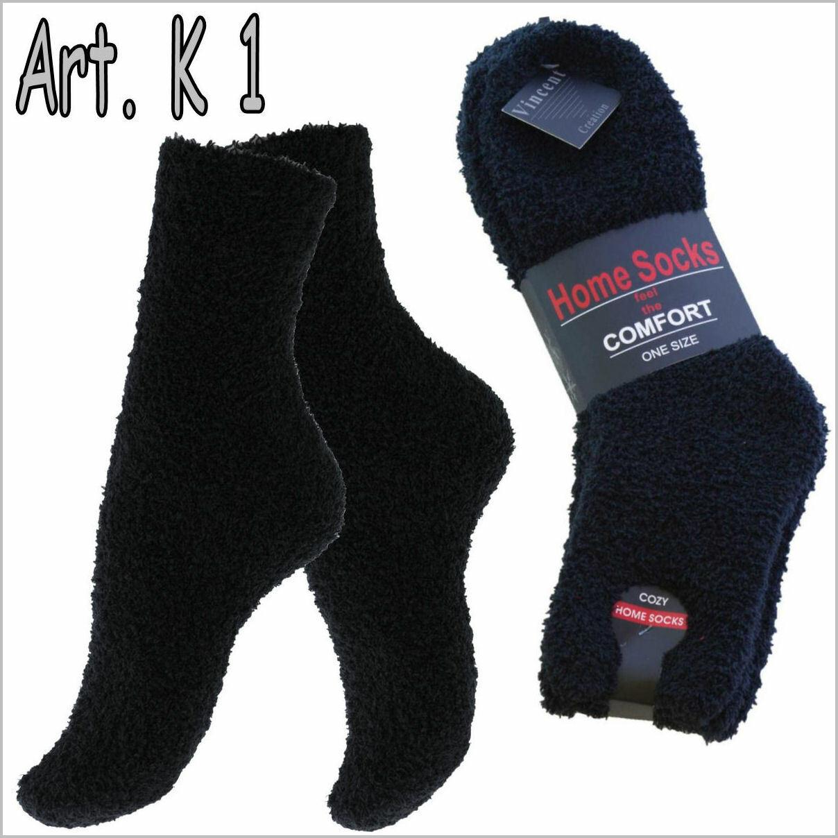 Kuschelsocken Bett Winter Socken Flauschsocken Flanell Plüsch Home socks schwarz