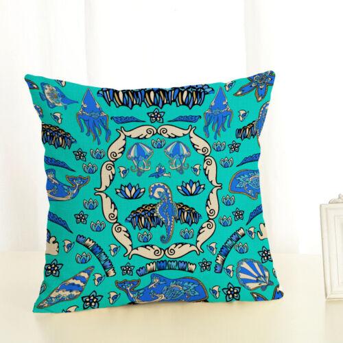 "18/"" Sea Theme Fish Pillow Covers Nautical Throw Pillowcases Beach Cushion Covers"