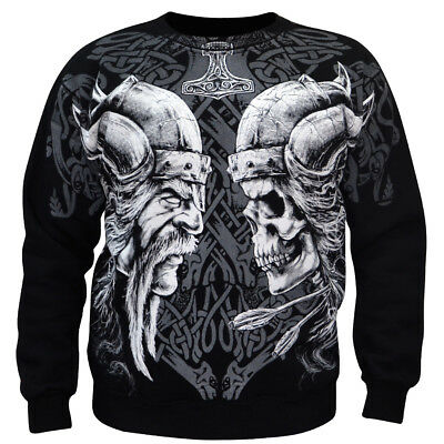 Sweatshirt Valhalla Nordic Viking Drakar Vikings Warrior Odin Thor Wiking Black