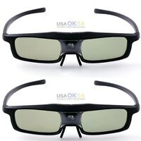 2pcs Rechargeable Active Shutter Glasses For Viewsonic Pjd7820hd Dlp Projector