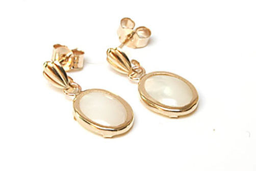 9ct gold Mother of Pearl oval drop Earrings Gift Boxed Made in Birthday Gift