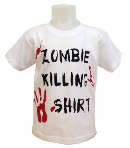 Kids Childs Boys Girls Zombie T Shirt Top Age 1-8 Years NEW Halloween White