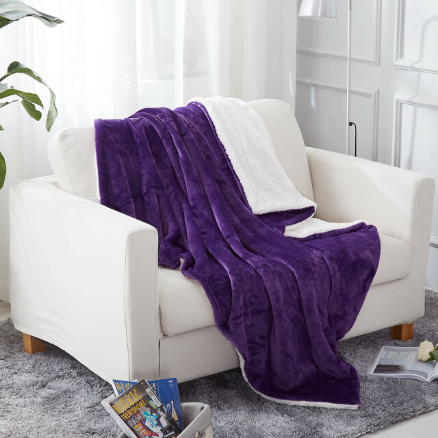 Sherpa Blanket Throw Fuzzy Bed Throws Fleece Reversible Blanket for Sofa 3 Size
