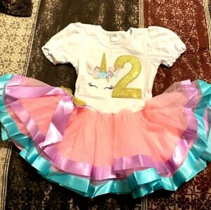 UNICORN Outfit 2 Second Two Year Old Birthday Dress Party Puffy