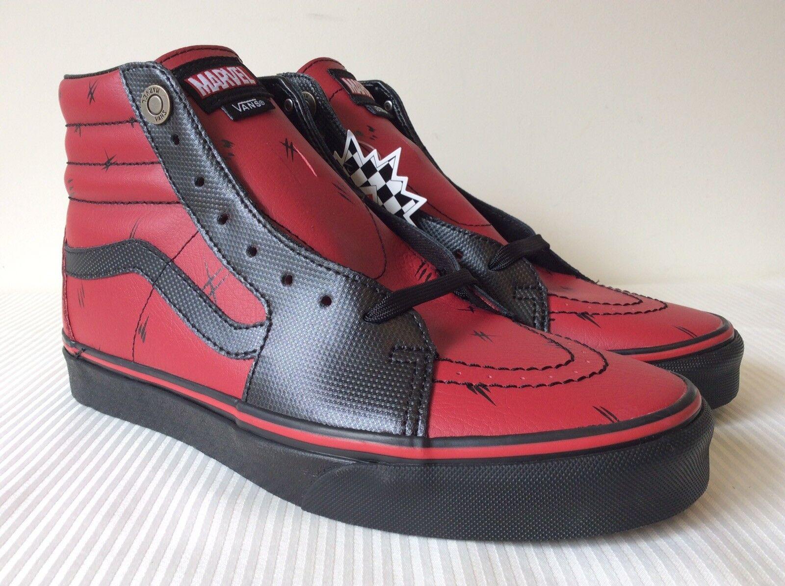 Vans x Marvel SK8-Hi Deadpool Black Sneakers VN0A38GEUBJ New W/Box DS Mens 9.5