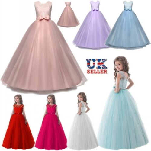 NEW Girls Flower Lace Princess Dress Bowknot Tulle Net Skirt Wedding Party Prom