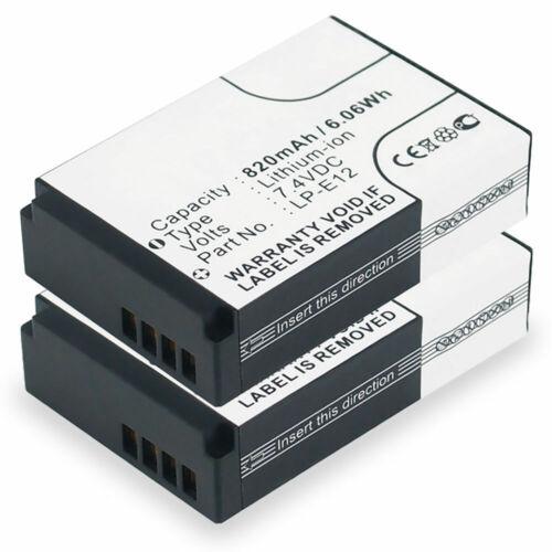 820mAh 2x Bateria para Canon EOS M2 EOS 100D EOS M EOS M100 EOS M50