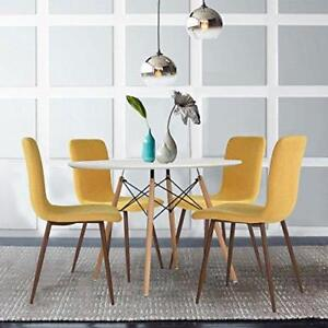 Set Of 4 Modern Dining Chairs Mustard Yellow Fabric ...